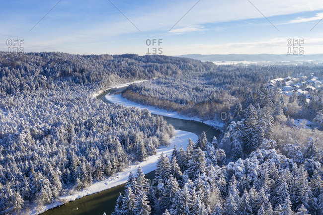 Germany- Bavaria- aerial view over Isar river and Isar floodplains near Geretsried in winter