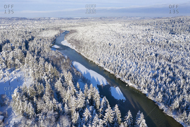 Germany- Bavaria- aerial view over Isar river and Isar floodplains betwenn Geretsried and Wolfratshausen in winter