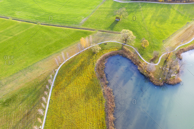 Germany- Bavaria- near Schlehdorf- bay at Lake Kochel- aerial view