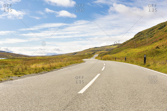 United Kingdom- Scotland- countryside road on the Isle of Skye