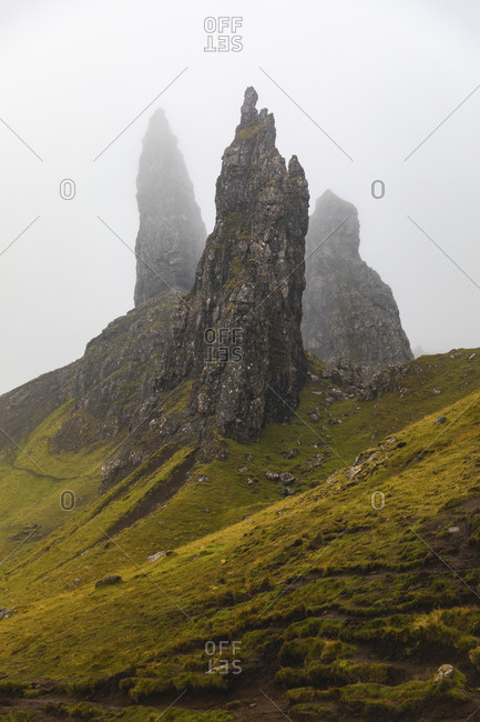 United Kingdom- Scotland- the Old man of Storr on a foggy moody day on the Isle of Skye