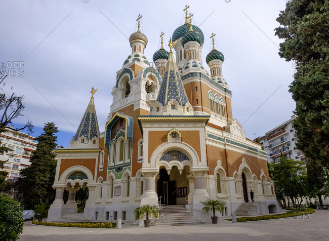 March 4, 2019: France- Nice- Russian Orthodox Church St. Nicholas
