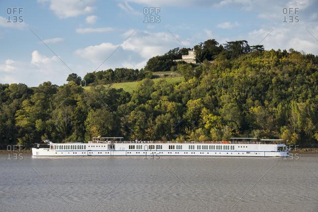 September 29, 2015: France- Dordogne- river cruise ship on the Dordogne river