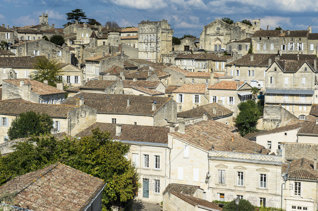 September 29, 2015: France- Saint Emilion- overlook over the Unesco world heritage sight