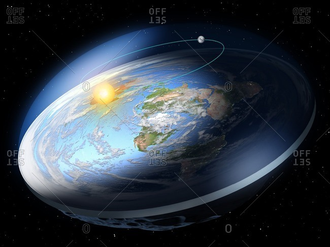 Flat Earth, illustration. Many ancient cultures thought the Earth was flat. Modern science has shown that the Earth is spherical, and this was also known to the Ancient Greeks (including Pythagoras and Aristotle). Modern flat Earth societies exist that promote the concept of a flat Earth.