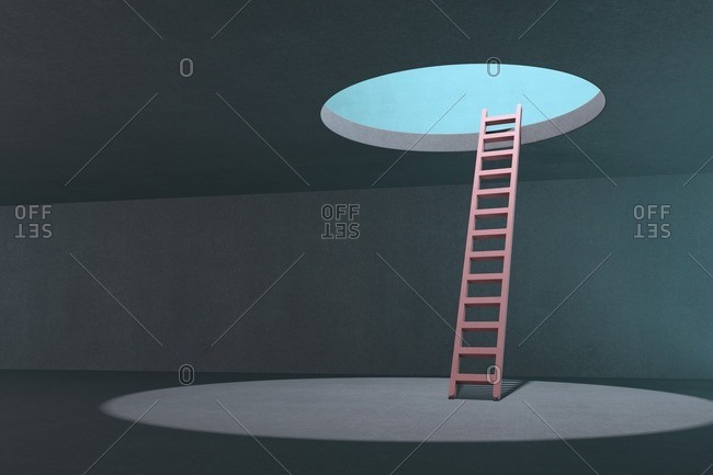 Ladder going up to light, illustration.