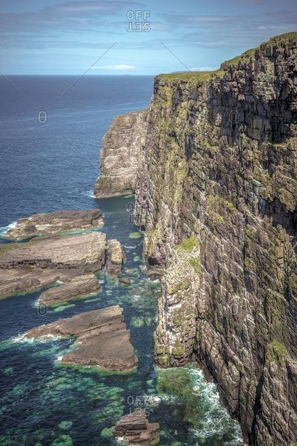 Torridonian sandstone cliffs at Handa Island, Sutherland, Scotland, UK.