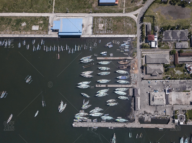 Aerial view of harbor mole