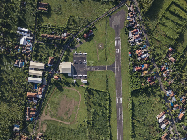 Aerial view of the small airport
