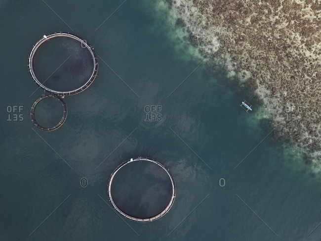 Aerial view of fishing farm enclosures