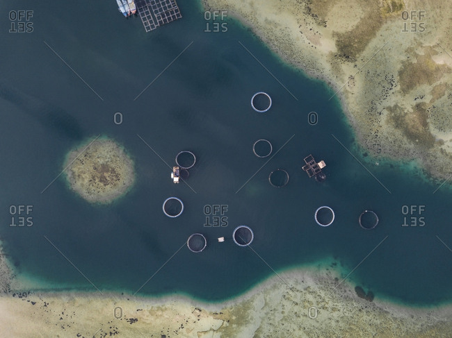 Aerial view of seafood farm
