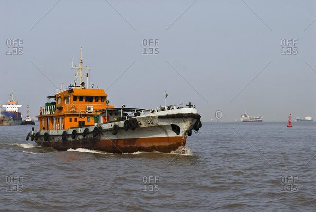 May 10, 2019: Tugboat on the Huangpu River,Shanghai, China