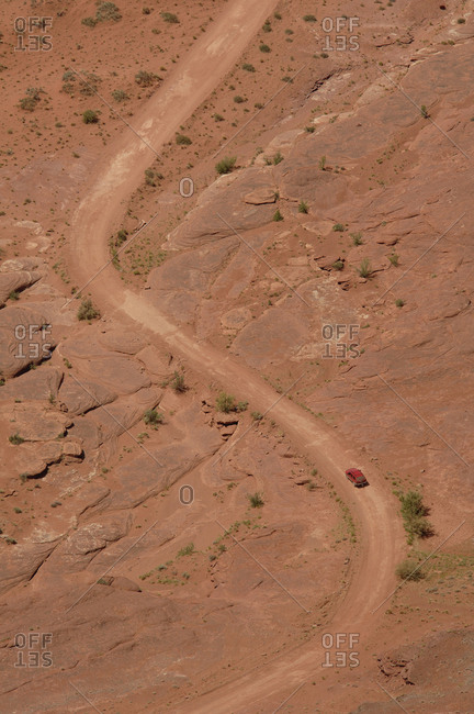 Aerial of SUV on Dirt Road