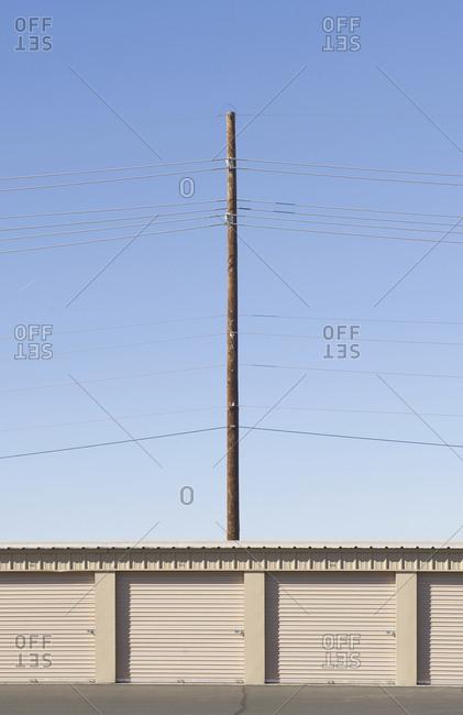 Power Line Pole Over Bay Doors