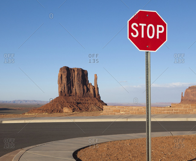 Stop Sign and Mesa in the Desert