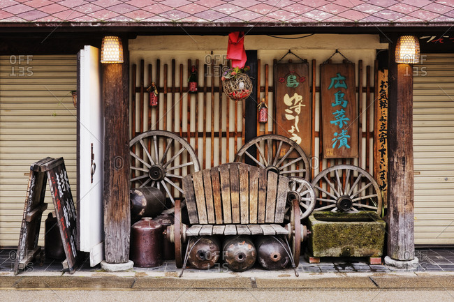 May 10, 2019: Worn Bench on an Asian Porch, Miyajima island, Hiroshima prefecture, Honshu island, Japan, Asia