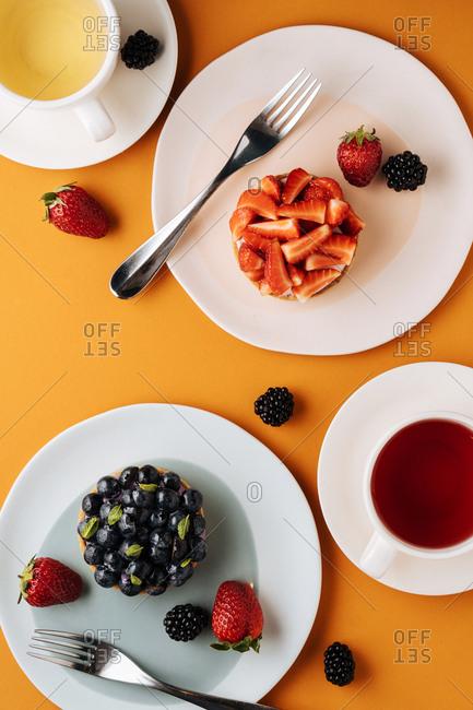Fruit tarts and tea