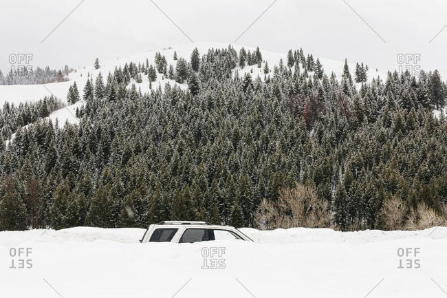 Car covered in snow by a snowy landscape and forest in Sun Valley, Idaho