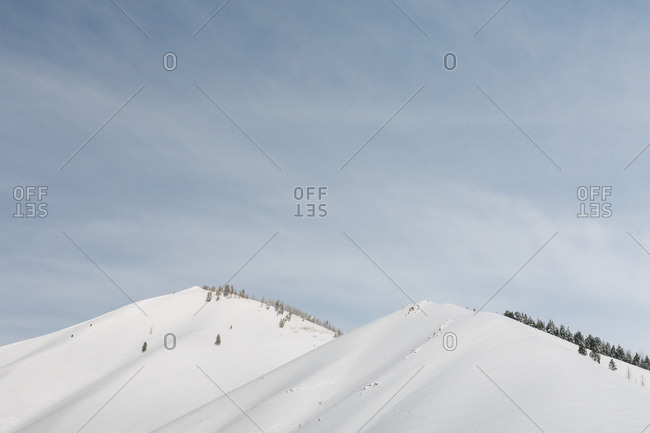 Snow covered mountain tops on a clear day in Sun Valley, Idaho