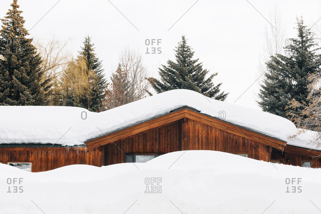 Snow Covered house and trees in Sun Valley, Idaho