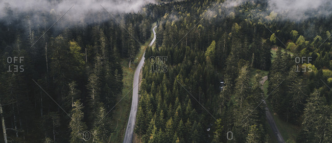 Panoramic view of fog over road and forest in the Pyrenees
