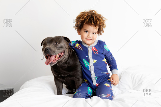 Smiling boy sits with dog on bed