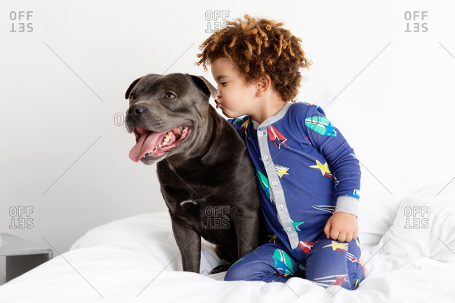 Boy about to kiss dog