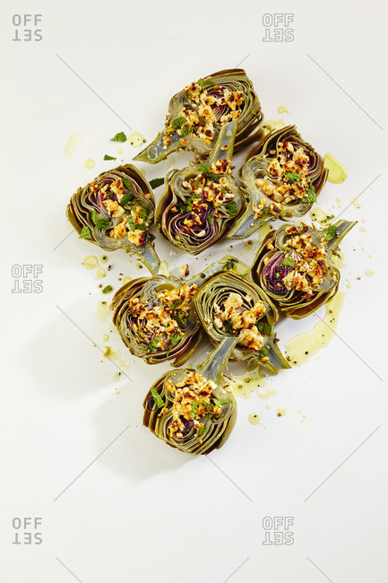 Wine braised artichokes