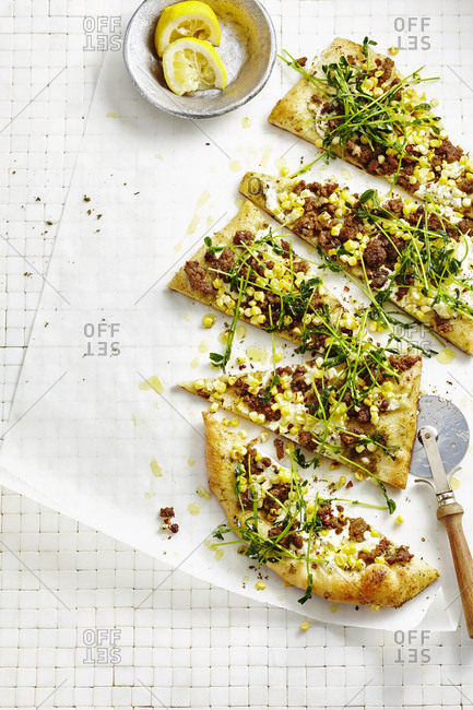 Za'atar flatbread with pea shoots