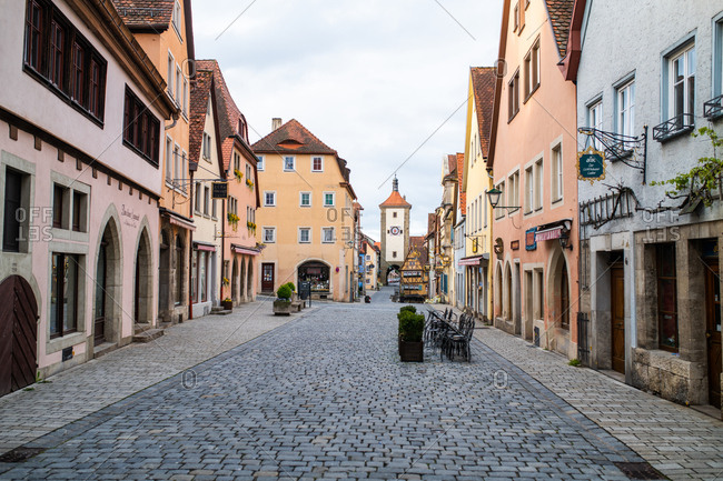 Rottenburg am Neckar, Germany - May 9, 2019: Old Bavarian buildings and cobblestone streets