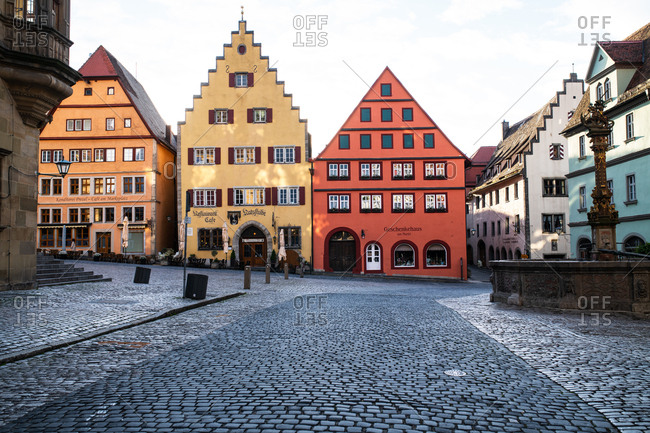 Rottenburg am Neckar, Germany - May 9, 2019: Colorful buildings and cobblestone streets