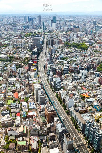JUNE 4, 2015: Aerial view of Tokyo, Japan