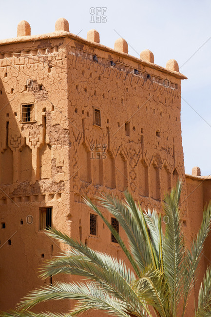Detailed view of a side wall of the Taourirt Kasbah