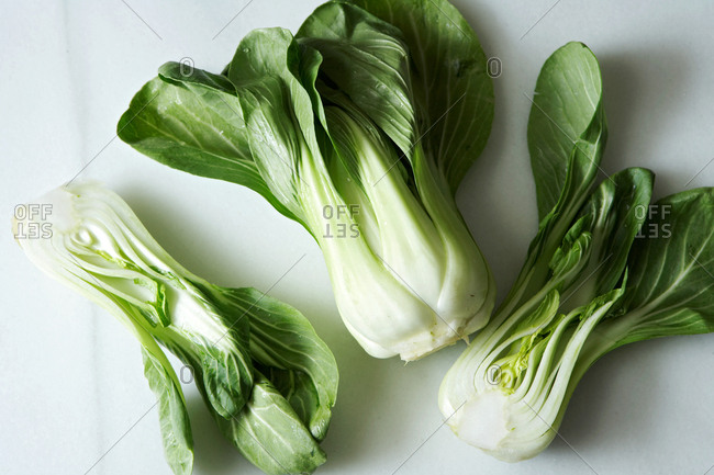 Overhead view of halved bok choy