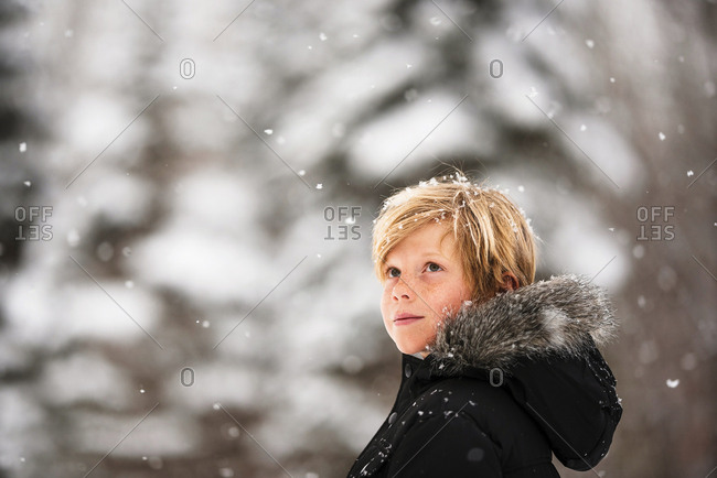 Portrait of a young boy in the snow in the country looking up