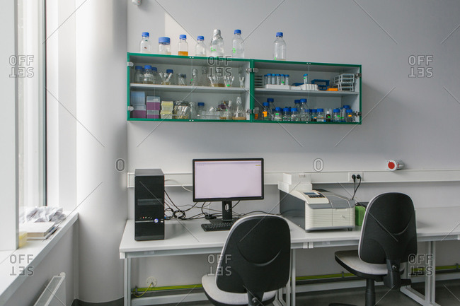 Computer and chairs in lab