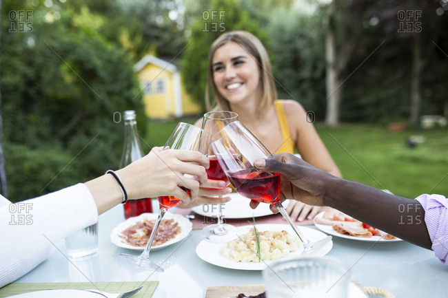 Friends toasting with wine at a summer dinner in the garden