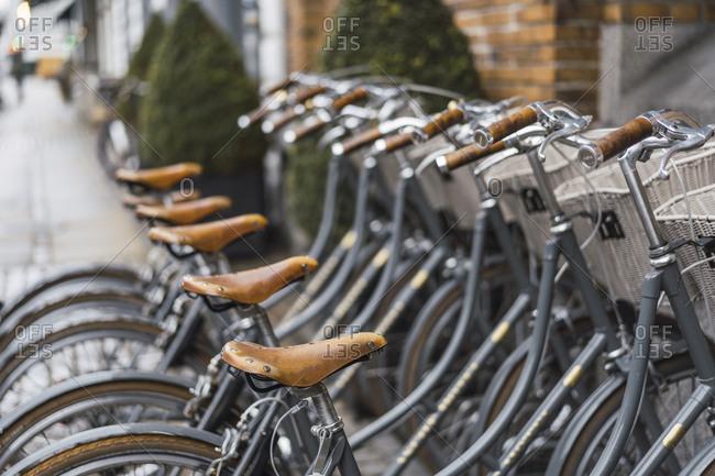 Denmark- Copenhagen- Row of bicycles