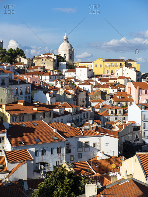 July 6, 2017: Portugal- Lisbon- Alfama- View from Miradouro de Santa Luzia over district- National Pantheon in the background