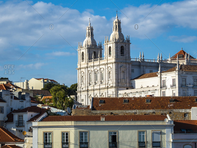 July 6, 2017: Portugal- Lisbon- Alfama- View from Miradouro de Santa Luzia over district with Sao Vicente de Fora Monastery