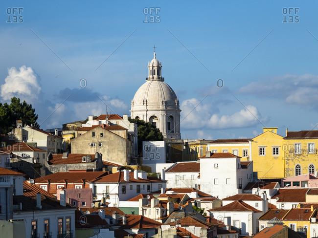 July 6, 2017: Portugal- Lisbon- Alfama- View from Miradouro de Santa Luzia over district- National Pantheon