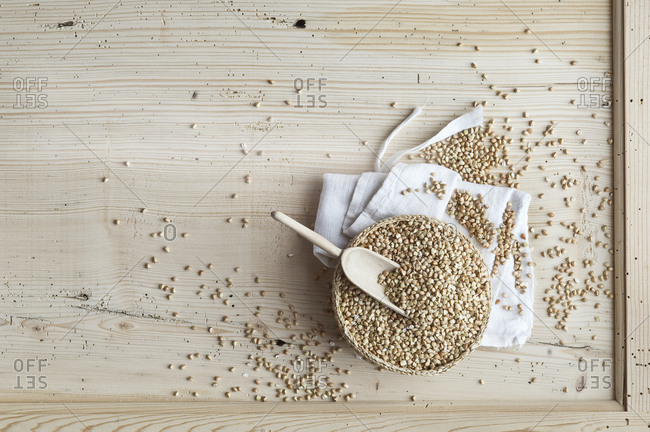 Organic buckwheat- whole grains in bowl on wood- from above