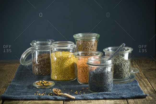 Preserving jars with various sorts of lentils