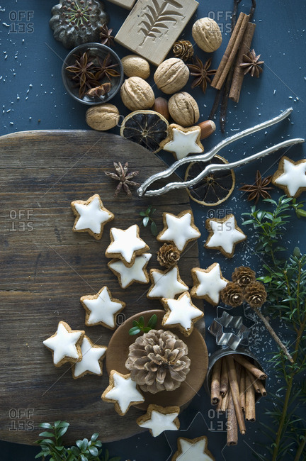 Cinnamon stars- star anise- cinnamon sticks- nutcracker and pine cones
