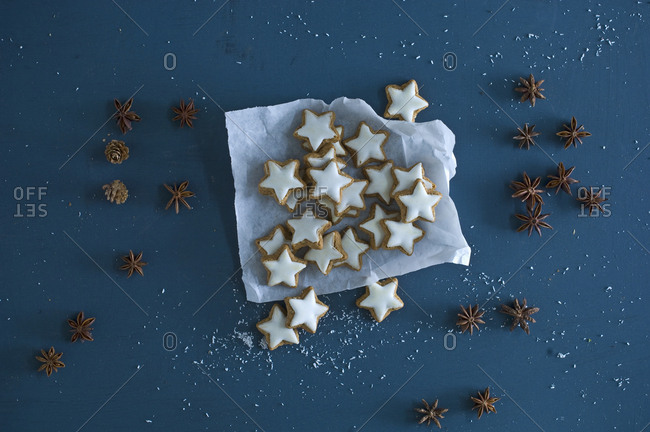 Cinnamon stars- star anise and pine cones on blue ground