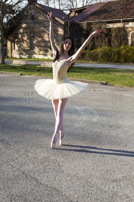 Italy- Verona- Ballerina dancing in the city