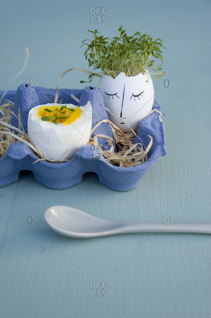 Easter decoration and breakfast egg in egg box