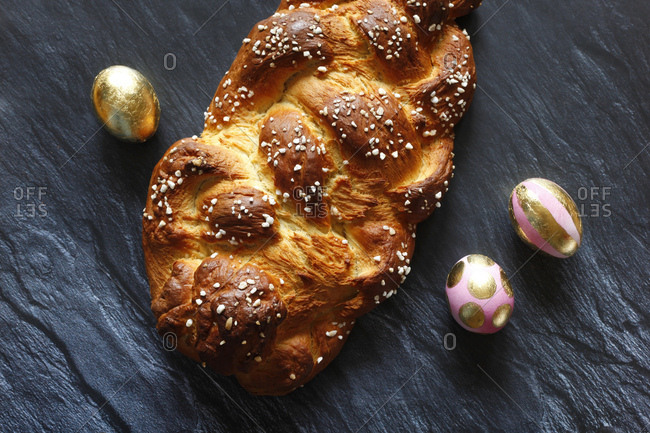 Homemade Easter plait and Easter eggs- from above