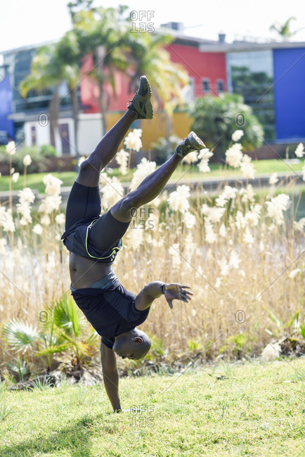 Man in black sportswear doing one-handed handstand on a meadow