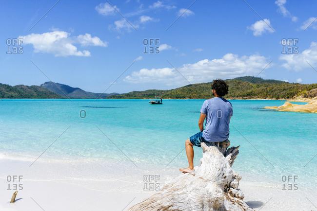 Australia- Queensland- Whitsunday Island- man sitting on log at Whitehaven Beach